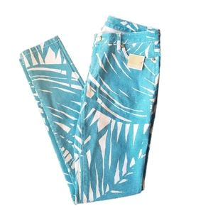 Michael Kors Tile Blue White Stretch Skinny Jeans